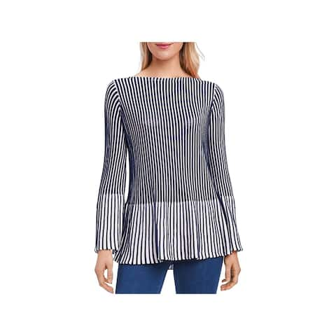 Foxcroft Womens Pullover Sweater Peplum Ribbed - M