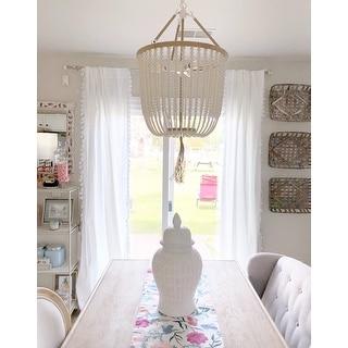 Safavieh Lighting Angie Beaded 3-light Cream Adjustable Pendant Lamp