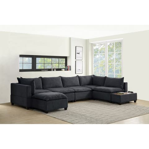 Madison Down Feather Sectional Sofa Chaise w/ USB Storage Console