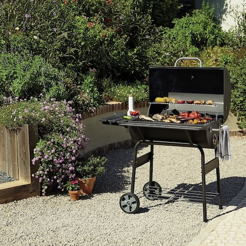 """Moda Multi-function Stainless Steel Charcoal 30"""" Barrel BBQ Grill"""