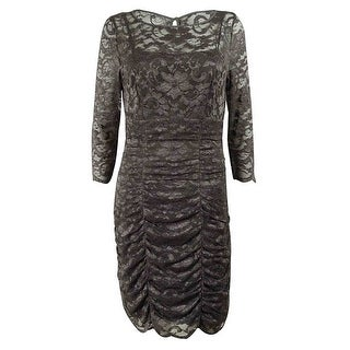 Eliza J Women's Lace Shirred Dress - Grey - 8