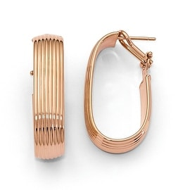 Italian 14k Rose Gold Polished Hoop Earrings