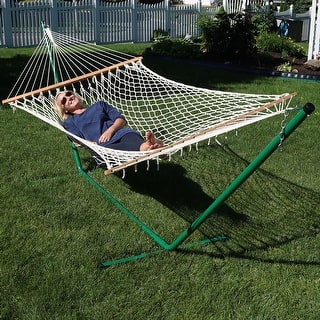 Sunnydaze Cotton Rope Double Hammock With Stand And Wood Spreader Bar 2 Person