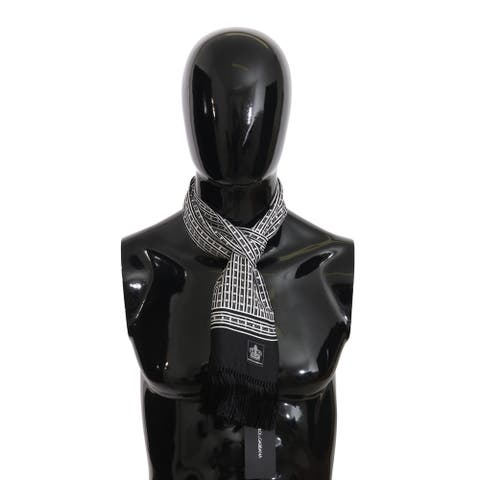 Dolce & Gabbana Black Baroque Fringes Mens Wrap 140cm x 15cm Men's Scarf - one-size