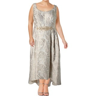 Betsy & Adam Womens Plus Evening Dress Hi-Low Metallic - 14W