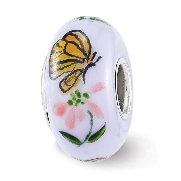 Sterling Silver Reflections Monarch Butterflies Fenton Glass Bead (4.5mm Diameter Hole)