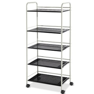 Costway 5 Tiers Shelving Display Rack Mesh Utility Storage Rolling Cart Organizer - as pic