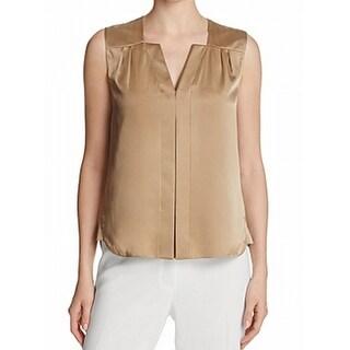 Elie Tahari NEW Latte Beige Womens Size XL Sheyda V-Neck Silk Blouse