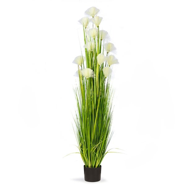 6 Feet High Artificial Reed Grass with Decorative Ivory Flowers