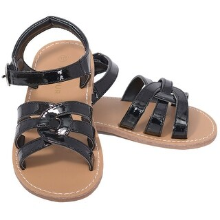 L'Amour Patent Black Woven Strap Summer Sandals Toddler Girls 5-10