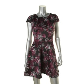 Aqua Womens Floral Print Deep V-Neck Scuba Dress - L