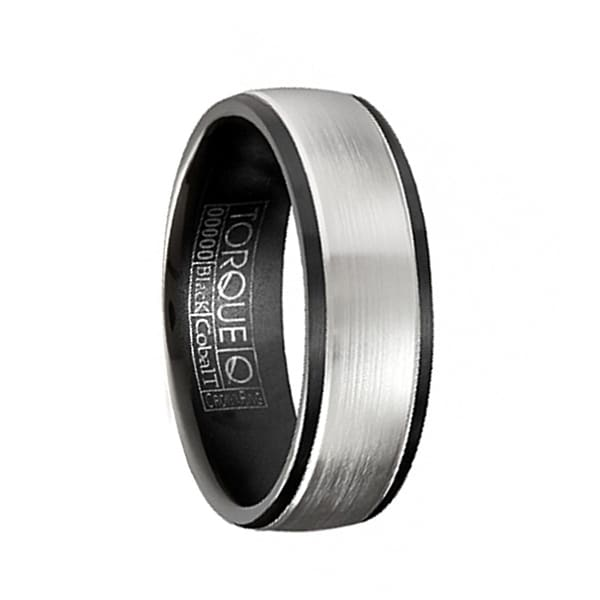 PRINCE Torque Black Cobalt Wedding Band Brushed Matte Center with