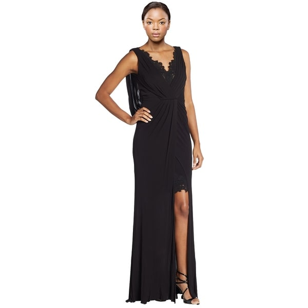 aa1bf84a95e ML Monique Lhuillier Lace Accented Draped Empire Evening Gown Dress Black -  12