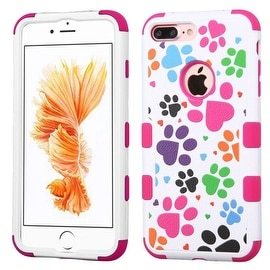 Insten Hot Pink/ White Dog Footprints Tuff Hard PC/ Silicone Dual Layer Hybrid Case Cover For Apple iPhone 7 Plus