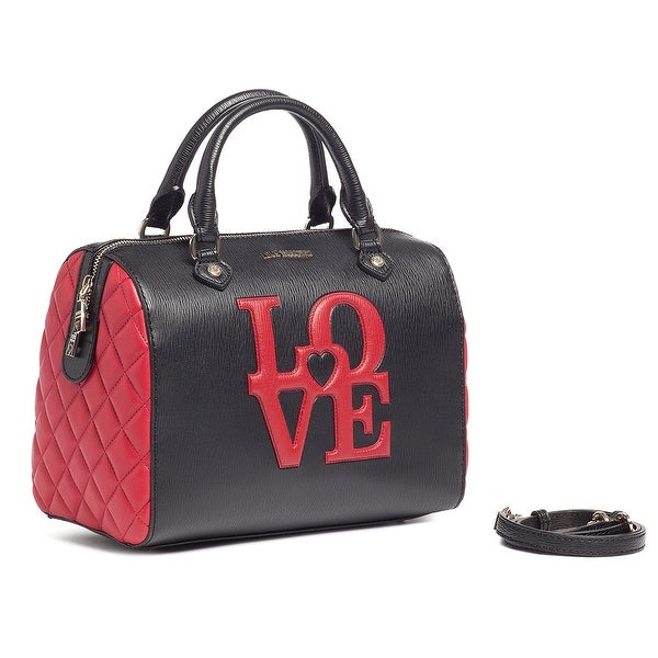 Moschino JC4055 100B Black/Red Speedy Satchel - 12-9-5.5
