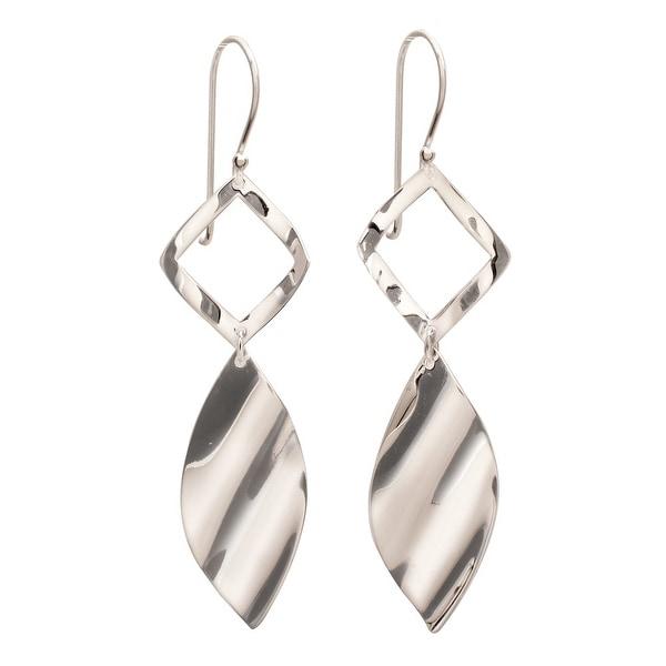 """Women's Sterling Silver Diamond Dangles Earrings - Hangs 2.5"""" - French Ear Hooks"""