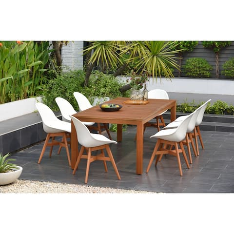 Amazonia Hawaii White 9-piece Rectangular Sidechair Patio Dining Set