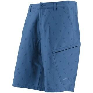 Huk Men's KC Scott Billfish Hybrid Blue Size 34 Lite Shorts