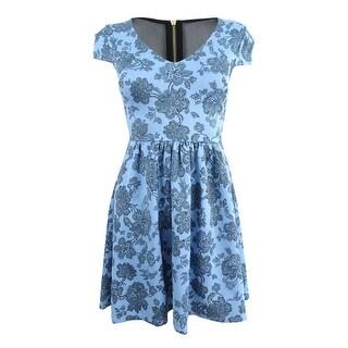 B Darlin Juniors' Printed Illusion Fit & Flare Dress (0, Sky Blue) - Sky blue - 0