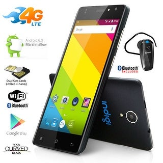 Indigi Android 6.0 2Sim SmartPhone 4G LTE Unlocked TMobile + Bluetooth Bundle - Black