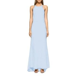 Calvin Klein High Neck Crepe Halter Gown, 2