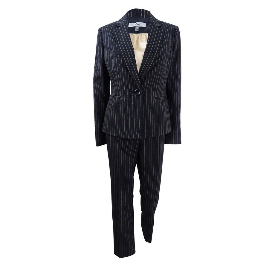Le Suit Womens 3-PC. Pinstriped Pantsuit - Black/Beach