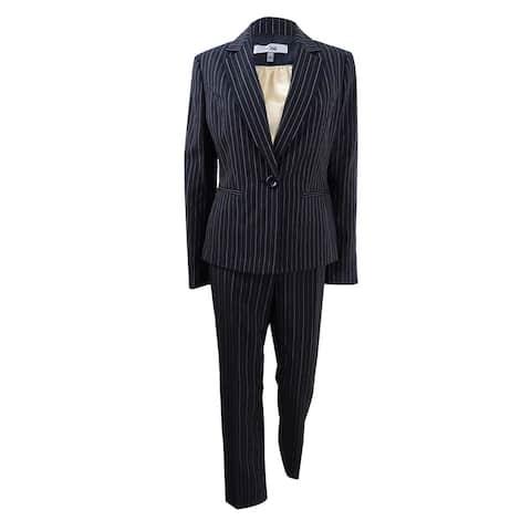 Le Suit Women's 3-PC. Pinstriped Pantsuit - Black/Beach