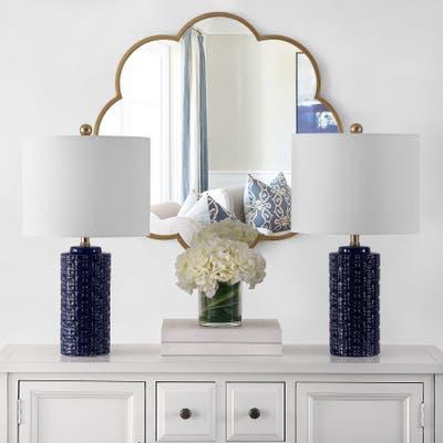 "SAFAVIEH Lighting 24-inch Artef Ceramic Table Lamp (Set of 2) - 13"" x 13"" x 24"""