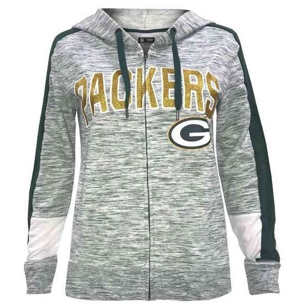 brand new d1569 927ac New Era Womens NFL Green Bay Packers Full Zip Hoodie Sweatshirt Glitter  5572L