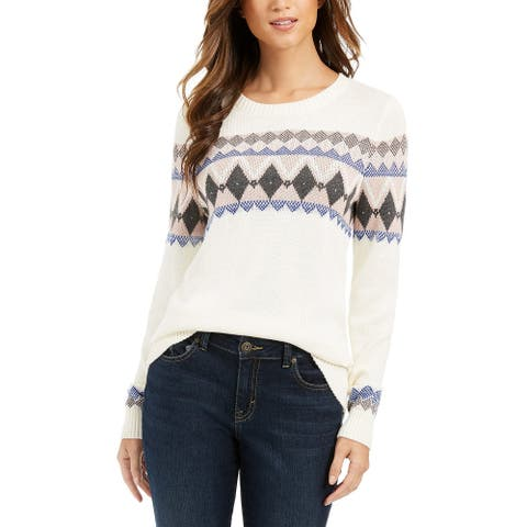 Charter Club Women's Fair Isle Sweater White Size Extra Large