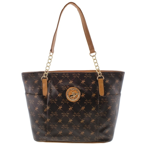 Beverly Hills Polo Club Womens Tote Handbag Faux Leather Printed Large