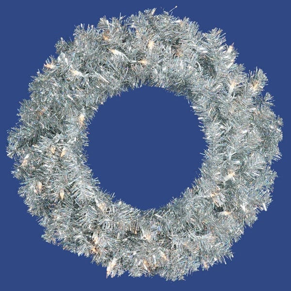 "36"" Pre-Lit Sparkling Silver Tinsel Artificial Christmas Wreath - Clear Lights"