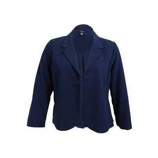 Alfani Women's Mixed-Media Blazer (Navy Nautical, XL) - navy nautical - xL