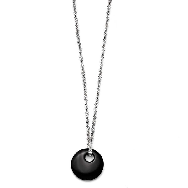 Chisel Stainless Steel Black Onyx Circular Polished Necklace (2 mm) - 18 in