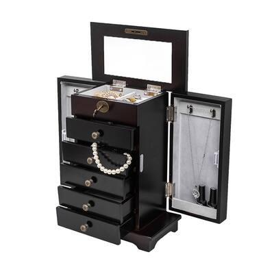 Modern Jewelry Box Case Wooden Organizer Cabinet