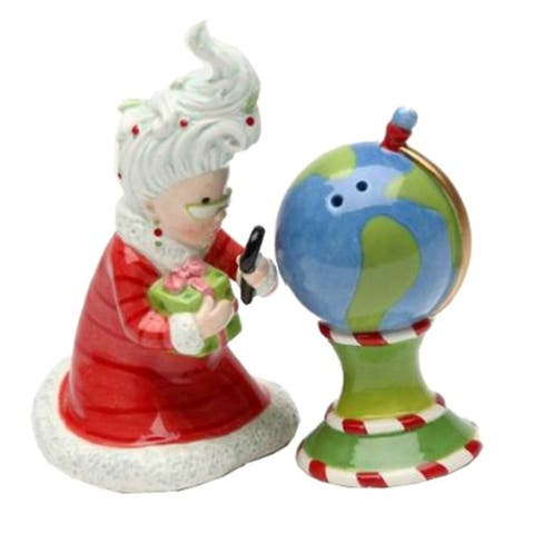 Mrs. Santa Claus Watching North Pole Christmas Salt and Pepper Shakers