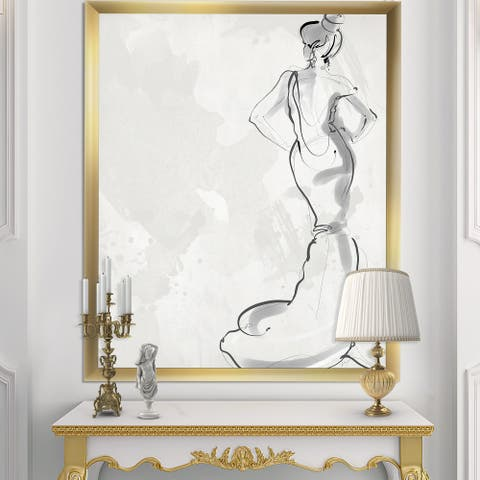 Designart 'Fancy Woman In Evening Dress' Fashion Framed Art Print
