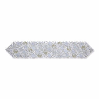 "68"" x 13"" White and Silver Colored Embroidered Ornaments Indoor Table Runner"