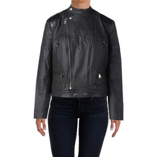 Lauren Ralph Lauren Womens Motorcycle Jacket Coated Faux Leather Trim