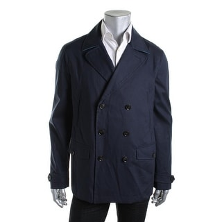 Tommy Hilfiger Mens Double-Breasted Pleated Trench Coat - L