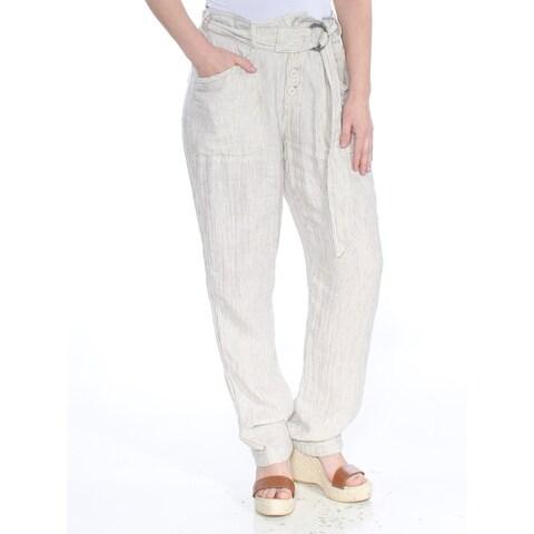 FREE PEOPLE Womens Ivory Striped Slide Buckle Straight leg Wear To Work Pants Size: 6