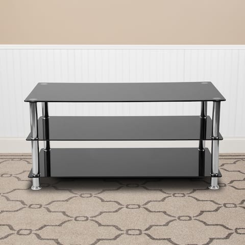 Glass TV Stand with Stainless Steel Frame - Home Furniture