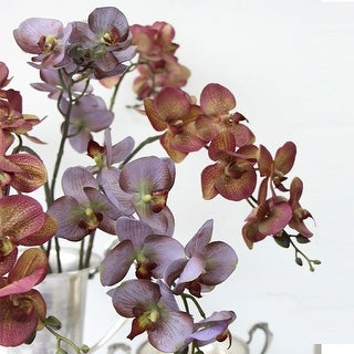 "G Home Collection Luxury Real Touch Butterfly Orchid Stem in Light Purple and Yellow Purple 29"" Tall"
