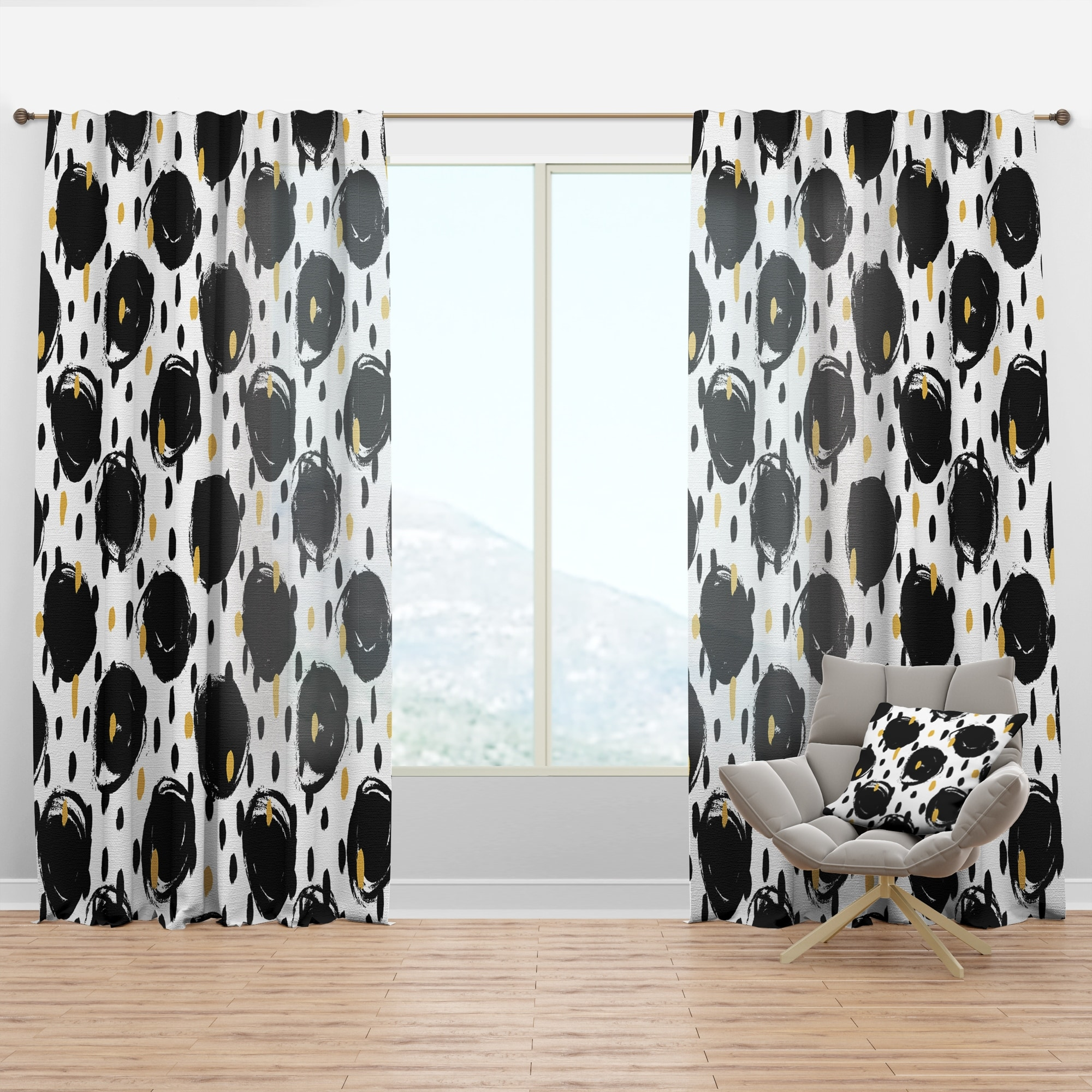 Designart Monochrome Geometric Pattern V Mid Century Modern Curtain Panel Overstock 29625686