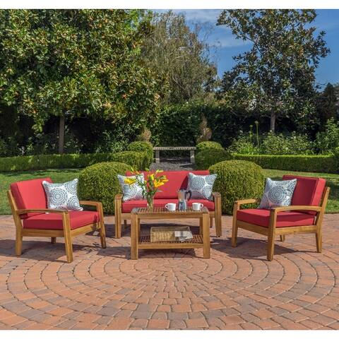 Grenada 4-piece Outdoor Wood Chat Set by Christopher Knight Home