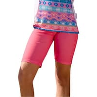 Sun Emporium Little Girls Coral Pink Desert Flower Print Surfer Shorts