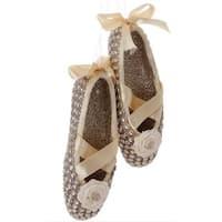 "4.5"" Gold Glittered Ballet Dancer Slippers Christmas Ornament w/ Faux Rhinestones"