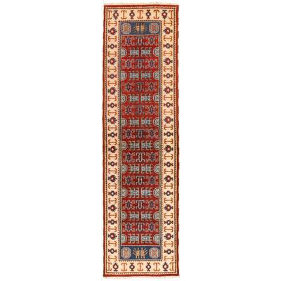ECARPETGALLERY Hand-knotted Royal Kazak Dark Red Wool Rug - 2'8 x 10'0
