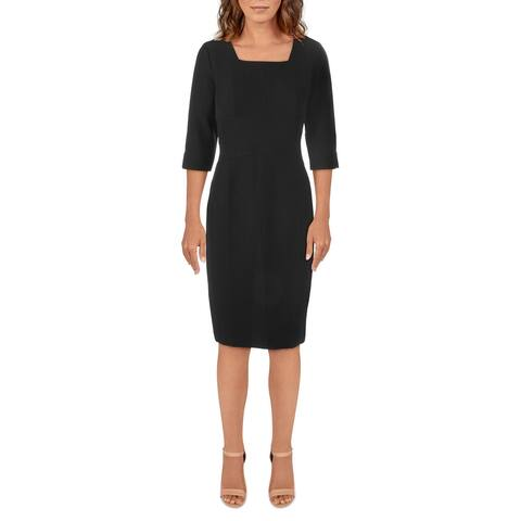 Donna Karan Womens Sheath Dress Square Neck Knee-Length - Black