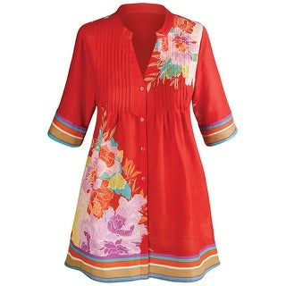 Women's Tunic Top - Red Bonsai Floral Button Down Pleated Blouse